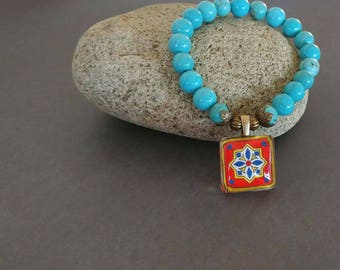 Orange & Turquoise Stretch Tile Charm Bracelet, Magnesite, Spanish, Mexican, Catalina Mediterranean Tile Antiqued Brass Accents Wanderluster