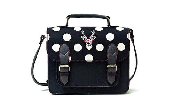 Black Satchel, vegan leather bag, black messenger bag, leather and canvas bag, deer bag, echino bag, black and white bag, polka dots bag