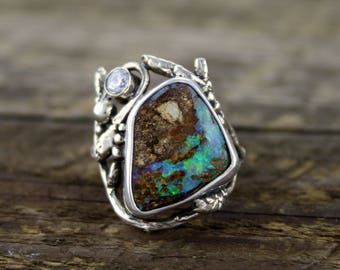 Natural Boulder Opal ring, Woodland Dance ring, birch medicine, tree ring, organic jewellery, boho style, opal engagement, organic, rustic