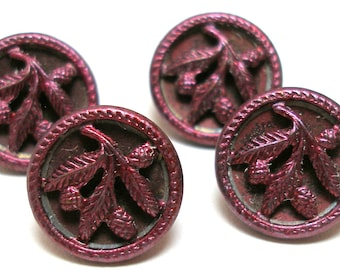 "1900s Antique French BUTTONS, 4 Victorian pine cones & evergreen leaves in maroon 9/16"". Unused. Plant life."