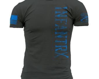 INFANTRY, Shirt is actually indigo blue, not gray.