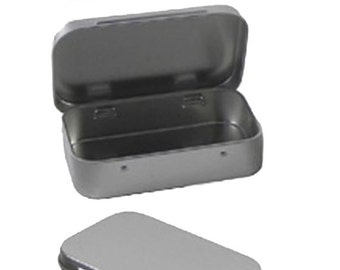 """8 Metal Hinge Top Tins Containers for Sewing, Beads, Crafts Geocache Storage Survival Kit Geocaching 3.9"""" by 2.45"""" hinged"""
