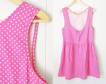 80s Pink Polka dot Cotton Baby Doll Dress | Labeled Size 9/10