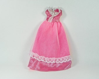 Vintage Pink Clone Doll Dress - Metallic Dots - White Lace Trim - Velcro Back - Fits Standard Fashion Dolls