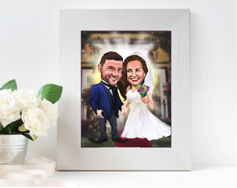 Custom caricature - 2 person caricature - personalized for use as a wedding gift, save the date notice, or wedding guest signage board
