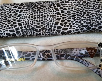Black and Clear Animal Print Reading Glasses made with Swarovski Crystals 2.00