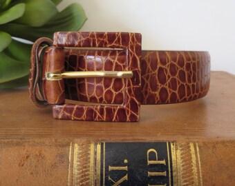 Vintage Italian leather belt Tarox belt Vintage Made in Italy belt Genuine Italian Leather belt Size L Large belt Textured leather Thin belt