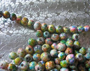 Marbled JawBreaker Glass  Beads 4mm  200 Beads per lot