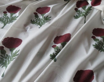 White and Dark Red Floral Cotton Block Print Fabric