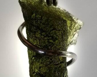 Moldavite Pendant 6.8g - Silver Wire Wrap