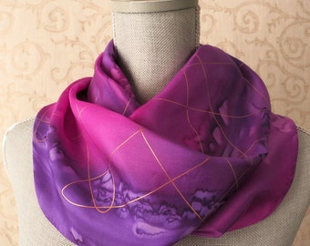 Silk Scarf Hand Dyed in Fuchsia and Orchid Purple with Gold, Mother's Day Gift, Ready to Ship