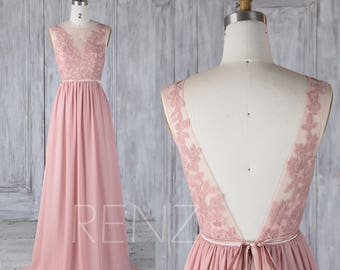 Bridesmaid Dress Dusty Rose,Chiffon Lace Illusion Wedding Dress with Sash,V Back Prom Dress,Boat Neck Maxi Dress Floor Length(L346)