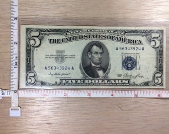 1953 Silver Certificate Five Dollar Money No A56343924A Used
