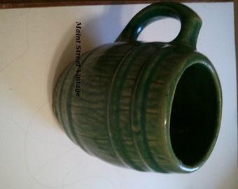 Vintage McCoy 1929 Green Pottery Barrel Mug Marked 4