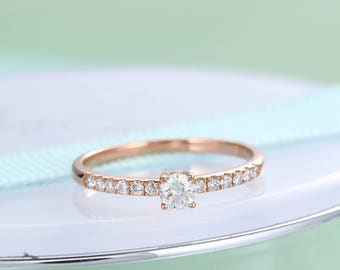 Diamond engagement ring Unique Diamond Rose gold eternity Bridal Jewelry Dainty Stacking Antique Promise Anniversary gift for women