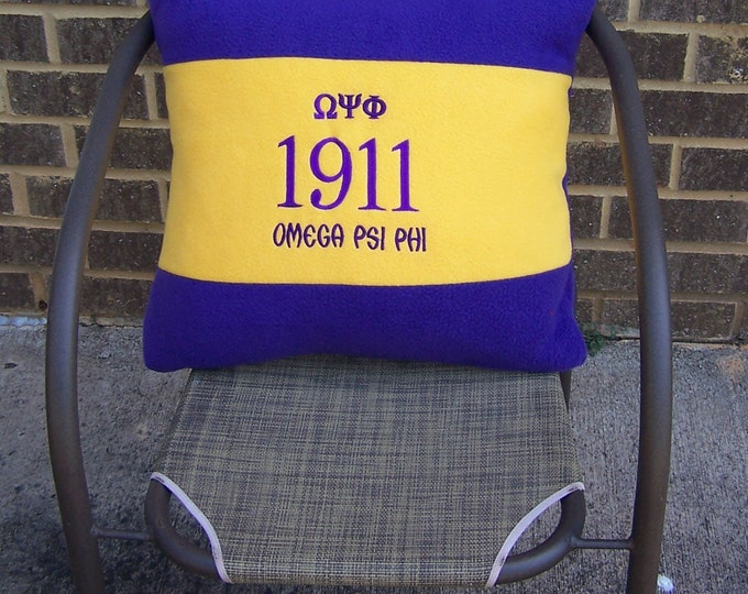 """OMEGA PSI PHI 20"""" Greek Letter Embroidered Purple & Gold Pillow"""