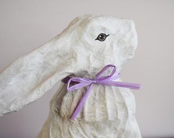 Painted Paper Mache Rabbit, Folk Art Rabbit Sculpture, Easter Bunny Rabbit, Hand Painted Papier Mache Hare, White Rabbit Art, Spring Mantle