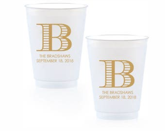 Personalized Wedding Cups,  Engagement Party Plastic Wine Cups, Bar Cups, Frosted Cups, Wedding Favors, Bridal Shower Cups