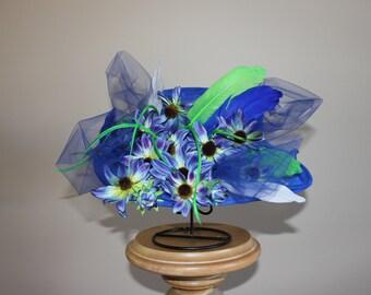 KY Derby Hat - Blue Chiffon Chapeau