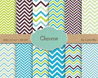 "Chevron Digital Paper: ""Blue green Chevron Patterns"" chevron backgrounds for scrapbooking, invites, cardmaking, crafts"