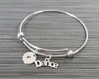 Dance Bangle - Dance Bracelet - Expandable Bangle - Charm Bangle - Dancer Bracelet - Initial Bracelet - Personalized Bangle
