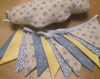 Garland of 12 pennants liberty and other fabrics
