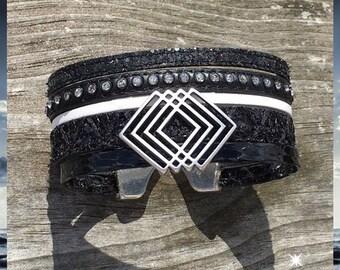 Rhinestone leather & Black cuff