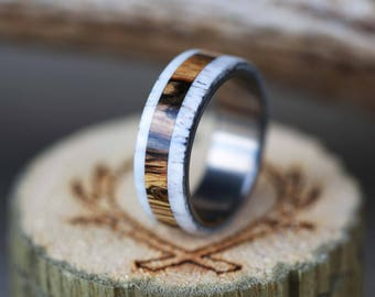 Men's Wedding Band with Spalted Maple and Antler - Staghead Designs