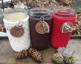 Crochet 100% Cotton Red Mason Jar Cozy for Wide-Mouth Pint + Half Mason Jars or 24 Oz Wide-Mouth Cozy in Red