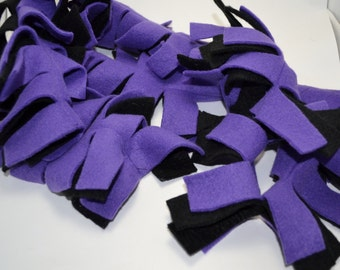 Black and Purple Fleece Fringe Scarf