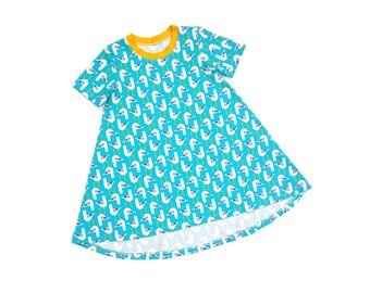 Girls Seagull T-shirt Dress - Organic Baby Clothes, Toddler Clothes, Seagulls, Summer Clothes, Girls Clothes