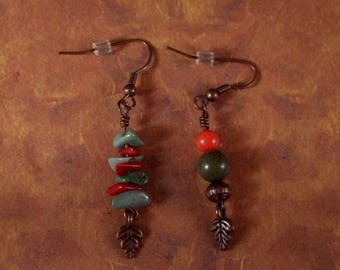 The Salt of the Earth - Turquoise Copper and Coral Earrings