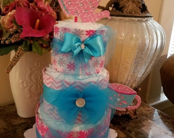 Three Tier Pink And Turquoise Diaper Cake / Baby Shower Centerpiece / Tea Party Centerpiece / Tea Party Baby Shower
