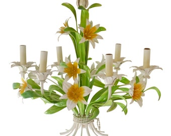 Vintage Tole Chandelier Lily Design
