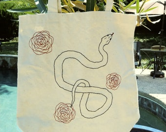 Snake and Roses tote bag