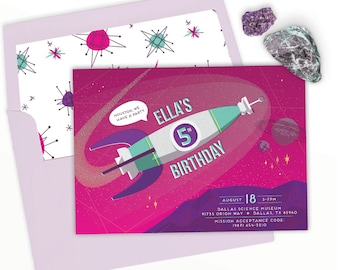 Space Party Birthday Invitation for Girls | Printable invitation or evite | Astronaut, outer space, rocket, pink