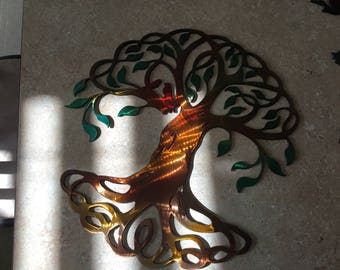 Plasma Cut Kandypainted Diove tree of life Metal Mancave Garage Wall Art Home Decor