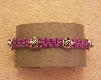 Handmade Purple beaded macrame bracelet Friendship Bracelet
