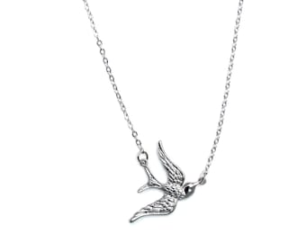 Silver Swallow Bird necklace - Bird necklace with Silver textured wings
