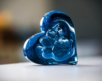 Paw Print Glass Heart