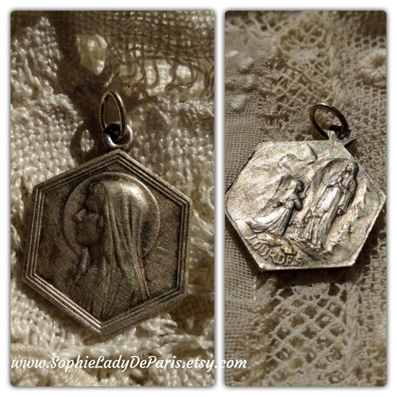 Antique Virgin Mary Medal Our Lady of Lourdes 1920 French Silver Religious Medal #sophieladydeparis