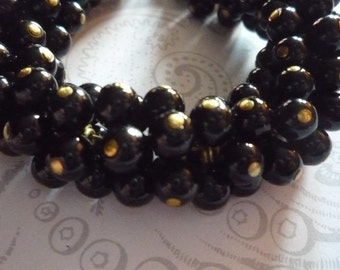 Opaque Jet Black Glass Bead 6mm Drops on Brass Loops - Round Bead Charms - Qty 16