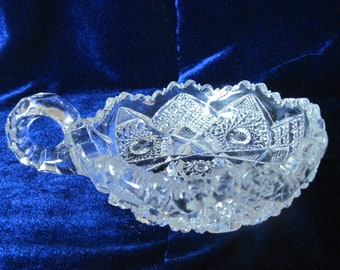 Candy Dish, Relish Dish, Finger Loop Handle, clear glass