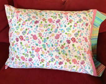 Childrens Flowered Turtle Print Pillowcase