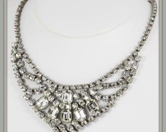 Vintage Rhinestone Collar Necklace,Vintage Rhinestone Necklace,Retro Rhinestone Collar Necklace,Retro Rhinestone Necklace,Retro Jewelry