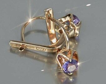 Alexandrite Earrings Stone Changes Color Silver Covered with Rose Gold 14 KT Russian Jewelry Soviet USSR Earrings Model in Reproduction