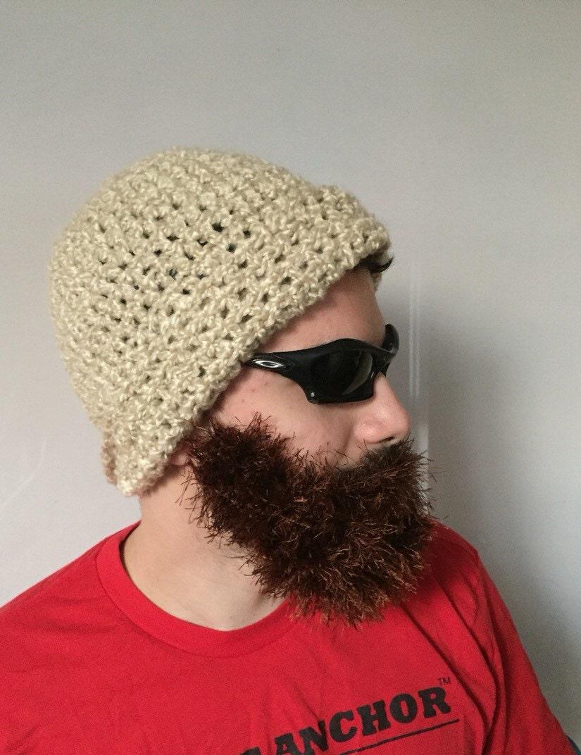 Handarbeit häkeln Bart Mütze in Creme Hut mit abnehmbaren