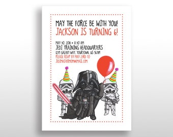 EDITABLE PRINTABLE Star Wars Darth Vader & Stormtroopers Invitations, Instant DOWNLOAD Birthday Party Invite, The Dark Side .pdf