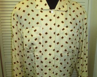 "Vintage Anne Klein 11 vintage 100% silk blouse in pristine condition Size  Generous Medium (44"" chest) Geometric pattern. Beautiful."