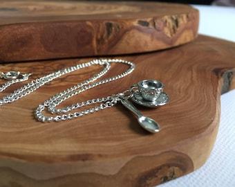Tea cup necklace - Saucer 3D Pretty Decorative British Steampunk Cute Fairy Miniature Mini Small Spoon Spoonie Sweet